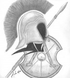 Spartan Tattoo With Spear & Shield