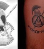 Spartan Helmet Tattoo Side By Side