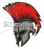 Red Haired Spartan Helmet Tattoo Design