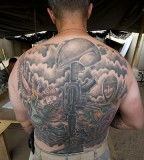Assignment Angel And Soldier At Back Tattoos