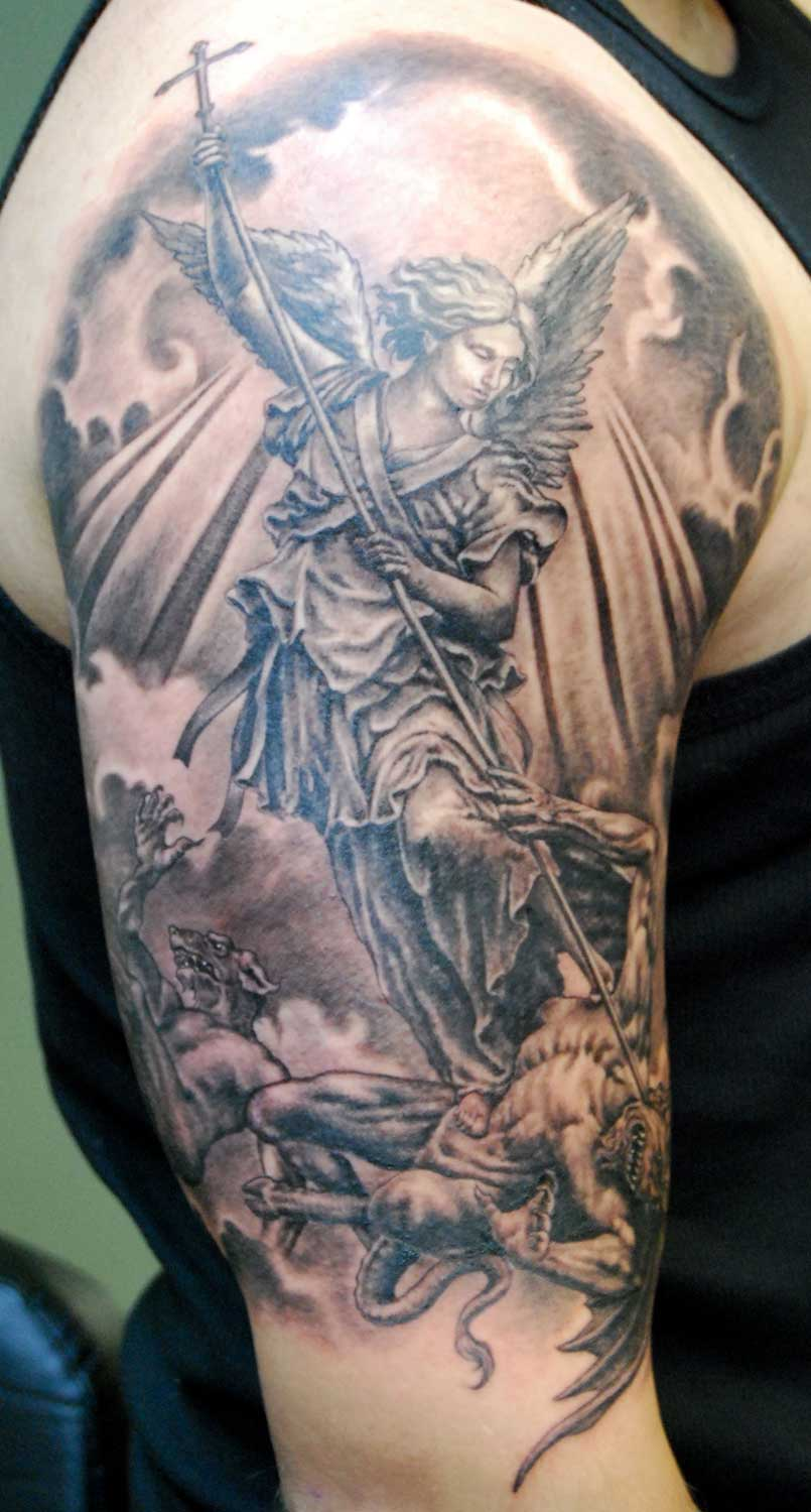 Black / Gray St Michael The Archangel Tattoo