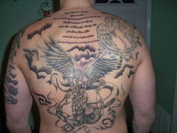 St michael tattoo full back tattoo ideas tattoomagz for St michael tattoo ideas