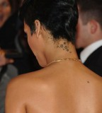 Artistic Rihanna Stars Tattoo Design On Neck