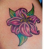 Simple Purple Lily Flower  Tattoo Design