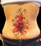 Awesome Stargazer Lily Tattoo Design on Back for Girls