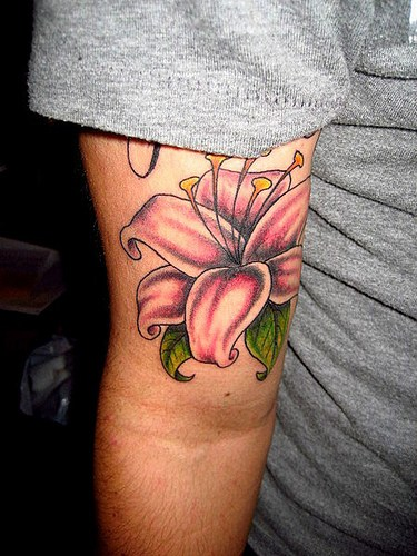 Cute Stargazer Lily Flower Tattoo Designs on Inner arm for Girls