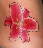 Cute Red Stargazer Lily Tattoo Design on Side