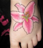 Cute Oriental Lily Tattoo Design on Foot for Girls