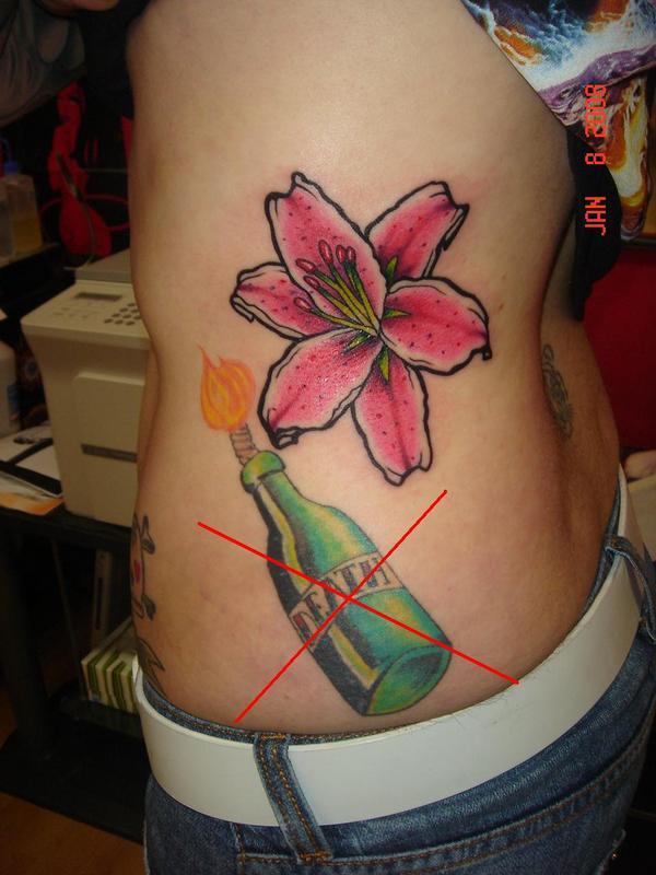Stargazer Lily Flower Tattoo Designs: Stargazer Lily And Bottle Tattoo Design On Side For Women