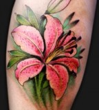 Awesome Painful Stargazer Lily Tattoo Design for Girls