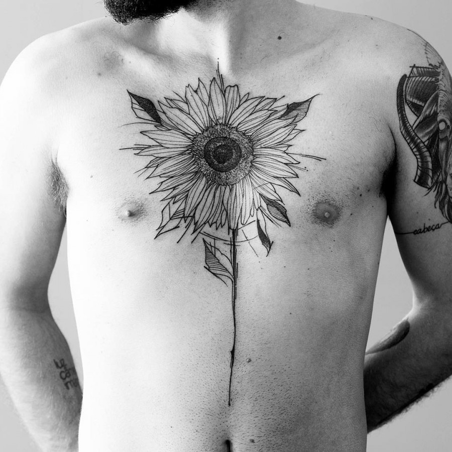 sunflower-chest-tattoo-by-fredao-oliveira