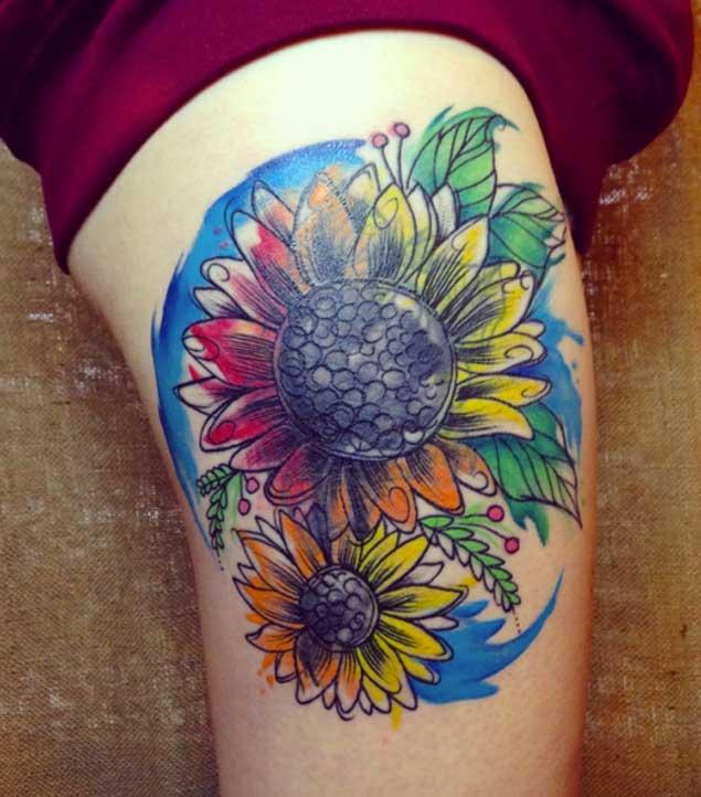 sunflower flower tattoo design