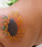 Staggering Sunflower Tattoo Designs on Shoulder for Women