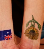 Sunflower And Flag Tattoo Designs For Girls