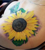 Nicely Done Sunflower Tattoo Design for Women