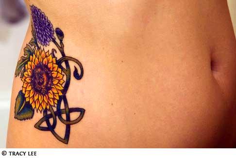Sunflower Tattoos Design On Hip For Girls Tattoomagz