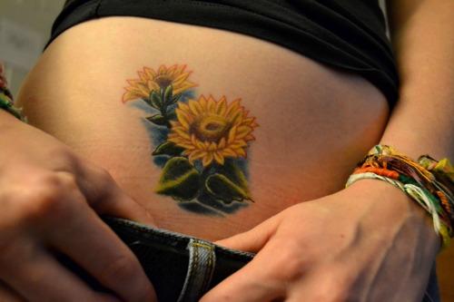 Cute Small Sunflower Tattoo Design for Women
