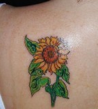 Sunflower Tattoo Designs on Back For Girls