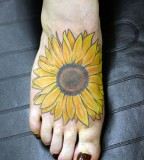 Bright Sunflower Tattoo Design Ideas on Foot