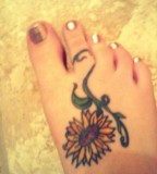 Cute Sunflower Tattoo on Foot for Women