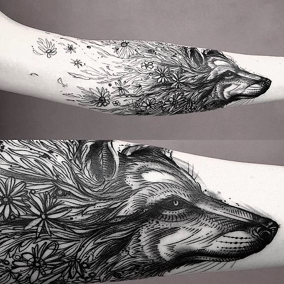 surealist-floral-wolf-tattoos