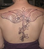 Nurse Symbol Tattoo On Back for Women