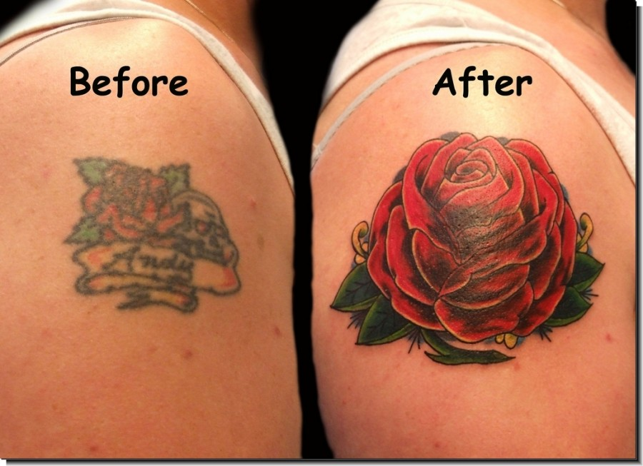 Rose Tattoo Cover Up: Red Rose Cover Up Arm Tattoo Designs