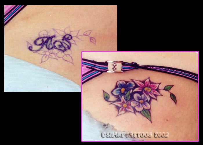 Various Flowers Color Cover Up Tattoo Ideas - TattooMagz