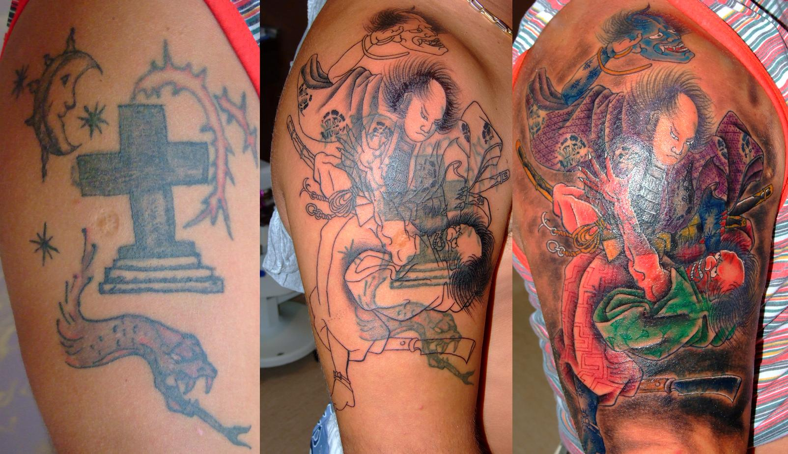 Samurai in fight cover up arm tattoo design tattoomagz for Tattoo sleeve cover up forearm