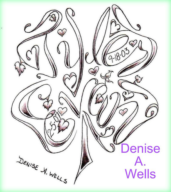 Butterfly Shaped Name Tattoo Design By Denise A Wells