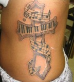 Cross Music Tattoo Ideas
