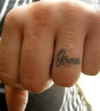 Initial Ring Finger Men Tattoo Design Picture