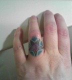 Beautiful Star Shaped Tattoo Design on Ring Finger