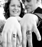 Sweet Couple Tattoo Design on Ring Finger