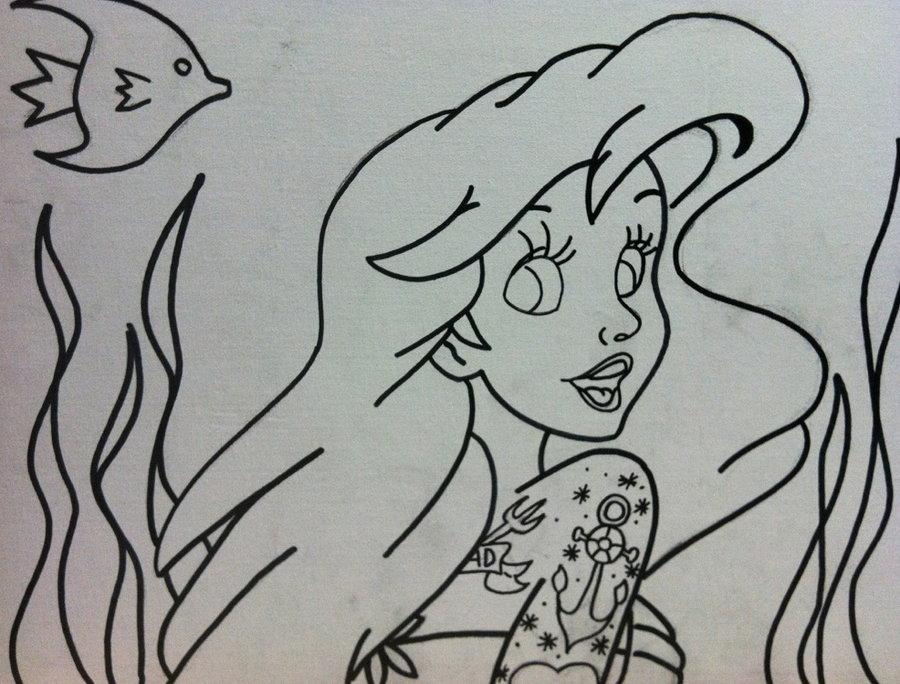 Mermaid Outline Tattoos Mermaid Tattooed Outline