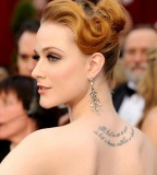 Evan Rachel Wood Upper Back Tattoos