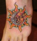 Sun and Moon Tattoo Design on Foot