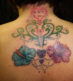 Upper-Back Tattoo Symbol Family Love Korean Names Flower Tattoo for Women