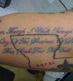 Blue and Purple Bible Scripts Tattoo on Arm
