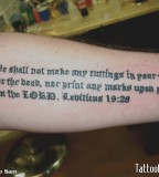 Bible Lebiticus 19:26 Tattoo Inspiration on Outer Lower Arm