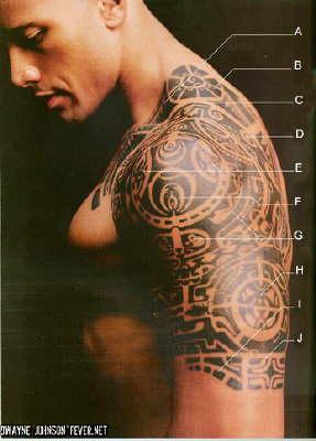 dwayne johnson with cool tribal tattoo design. Black Bedroom Furniture Sets. Home Design Ideas