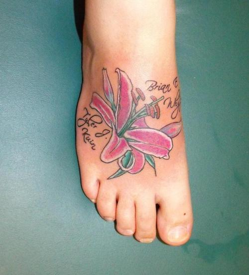 Lilies Tattoos On Foot
