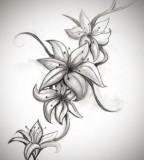 Cool Lily Flower Tattoo Drawing