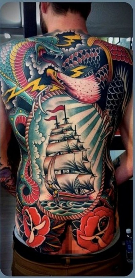 traditional full back tattoos for men