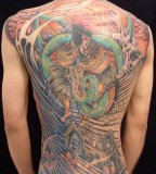 Samurai and Dragon Fight Traditional Japanese Tattoos