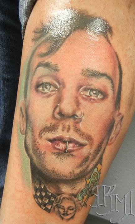 Cool Travis Barker Portrait Tattoo - TattooMagz