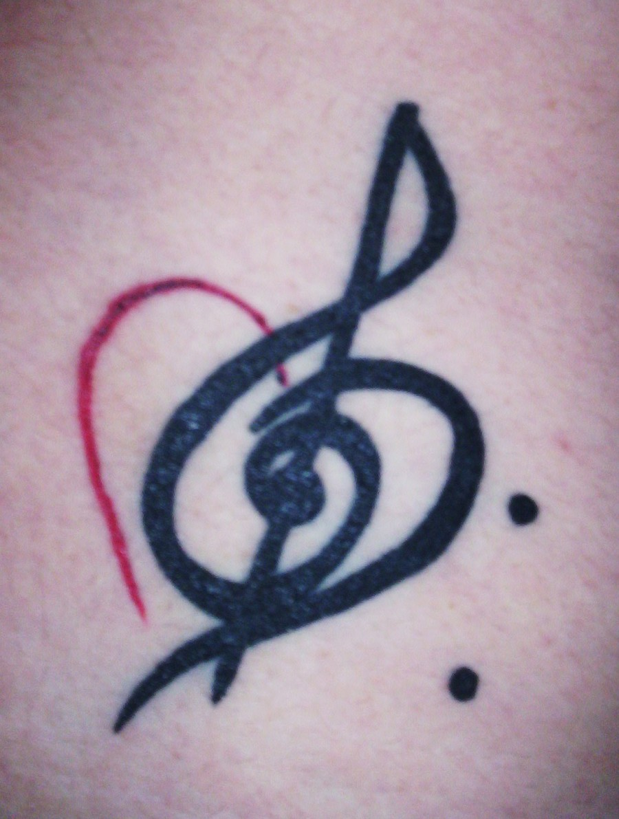 Bass Treble Clef With A Heart Tattoos