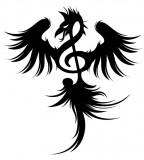 Phoenix Treble Clef Tattoo Design