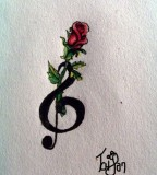 Cute Red Rose And Treble Clef Tattoo