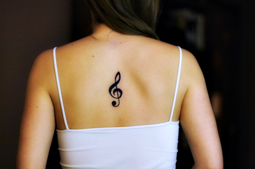 Treble Clef Tattoo Back Body for Women